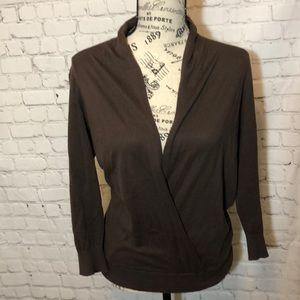 Magaschoni Cotton Faux Wrap Sweater Brown